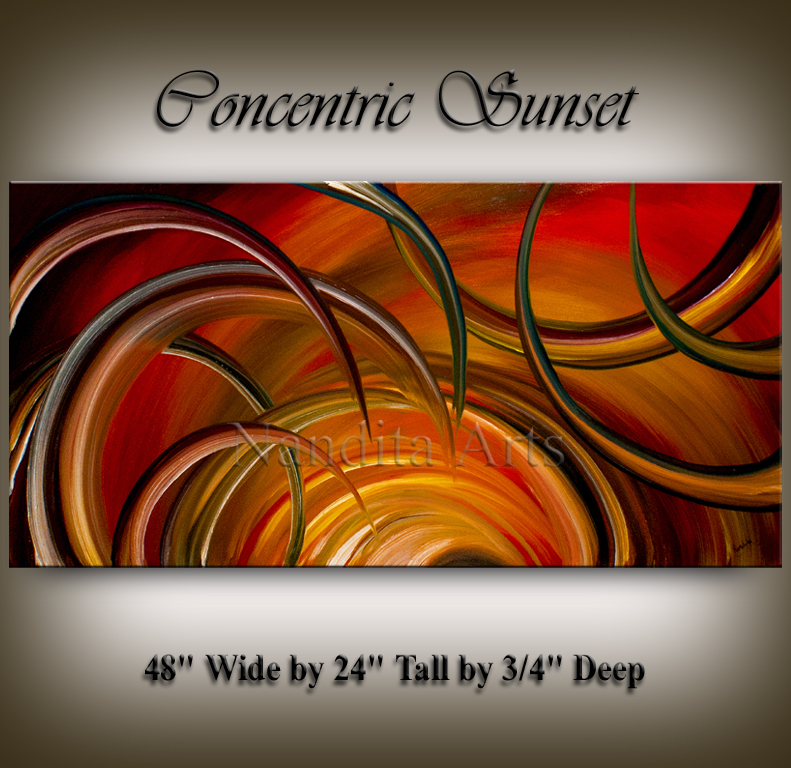 Large oil painting Concentric Sunset oil art