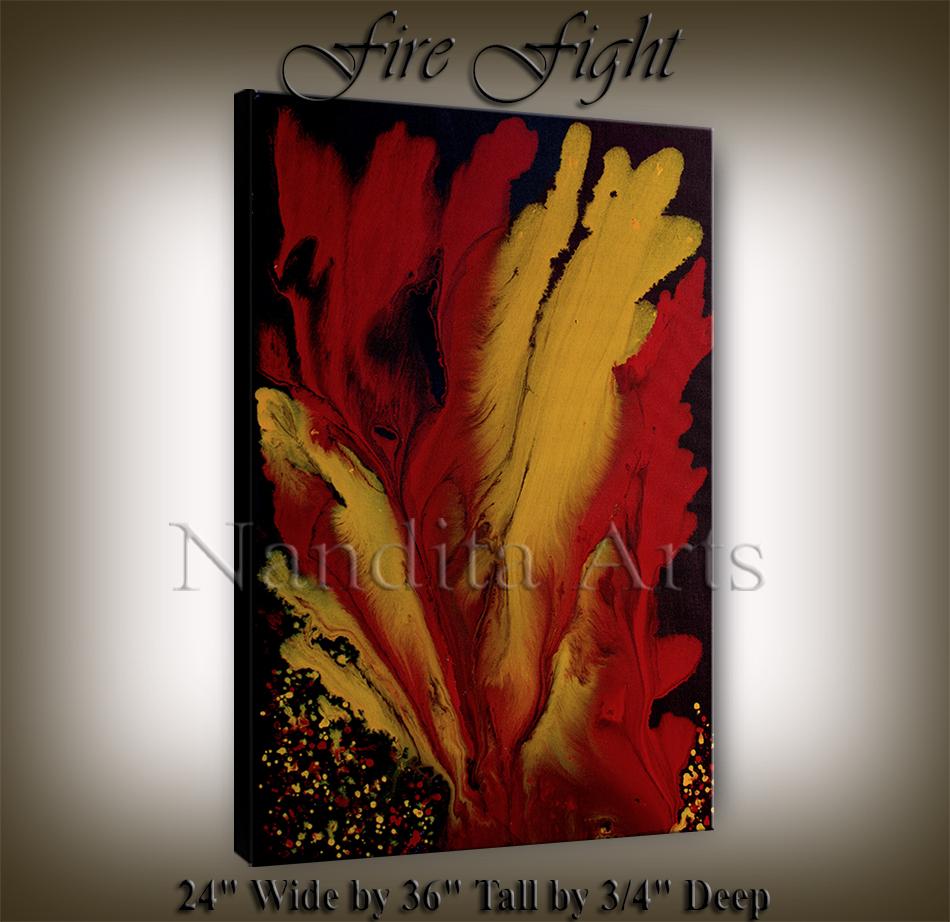 Red Original Artwork Fire Fight Artwork