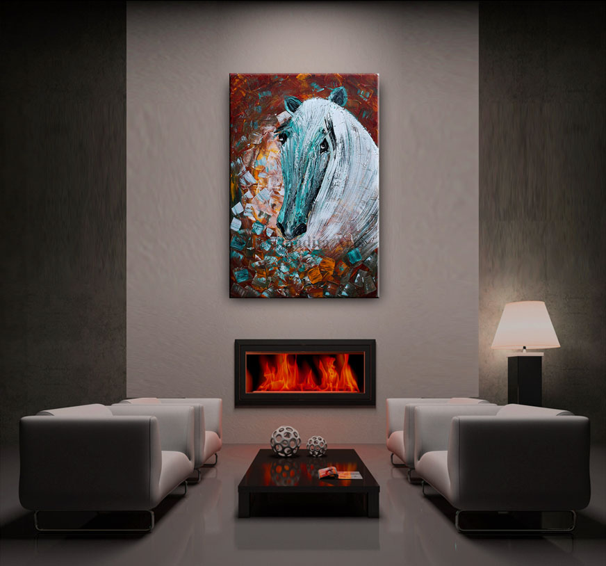Horse Painting Moonlight Gallop artwork