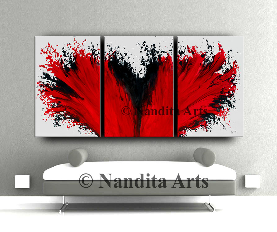 Abstract Red Painting, Red Artwork, Red Wall Art Decor by Nandita Albright