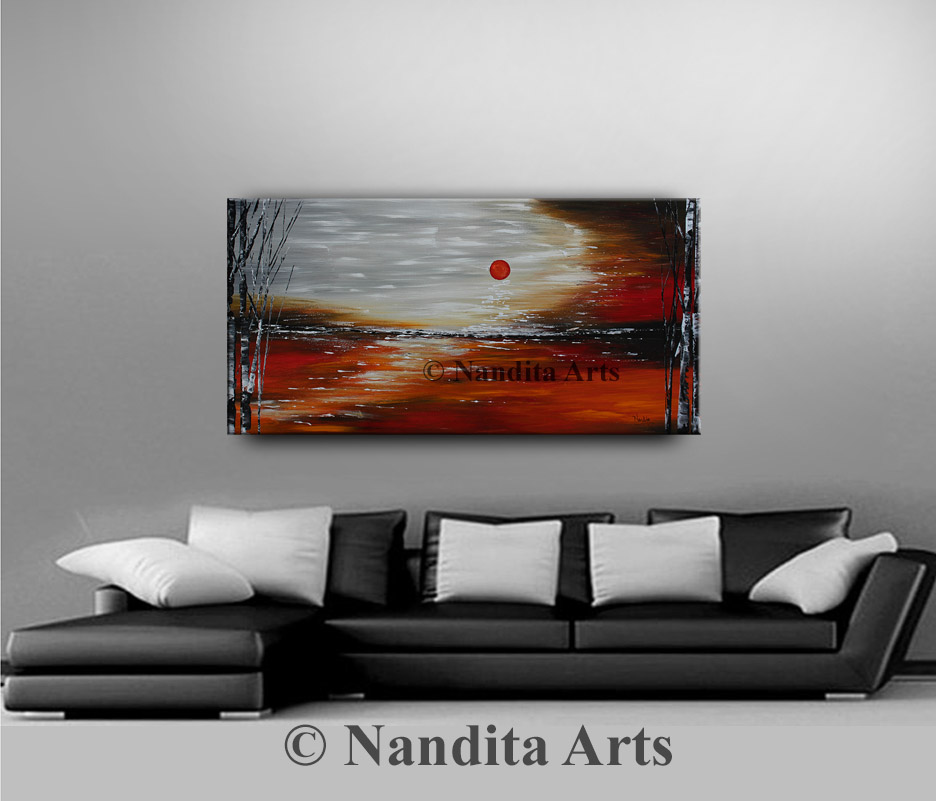 red landscape art