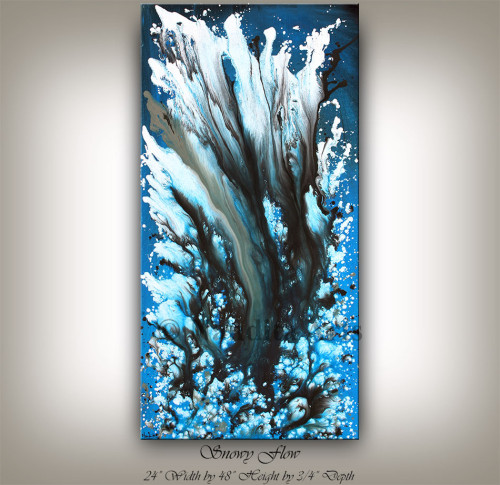 Sky Blue Painting Art Snowy Flow
