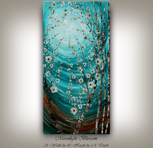 turquoise blue artwork moonlight blossom