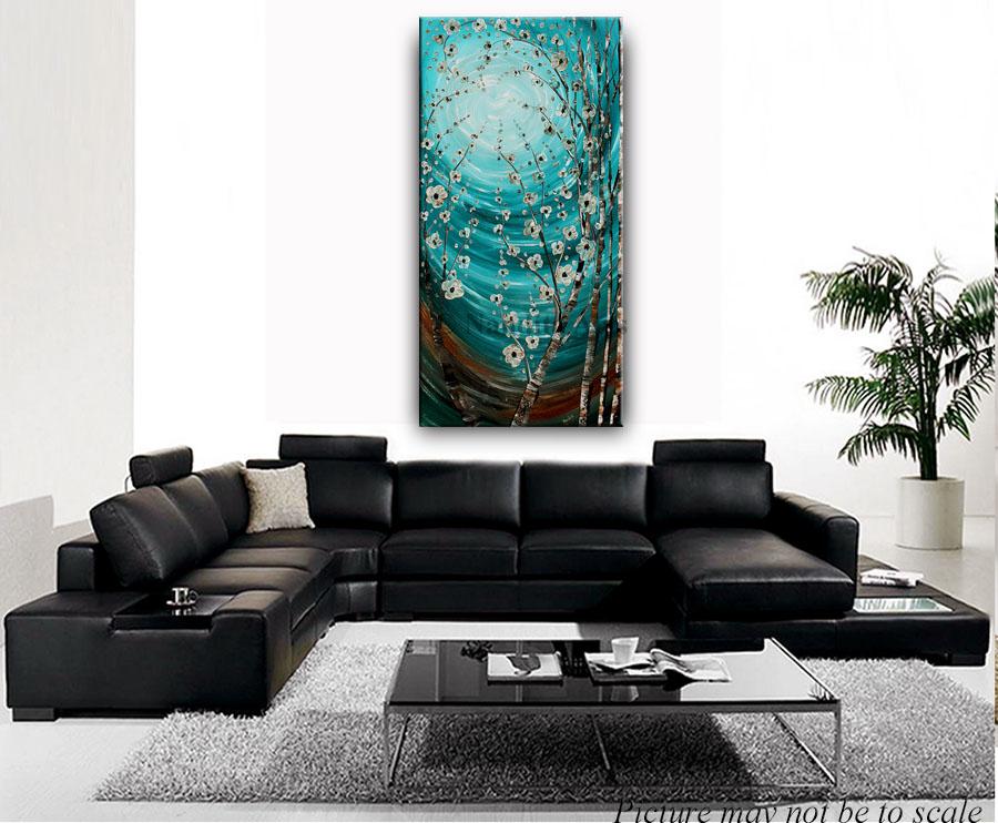 turquoise blue artwork moonlight blossom