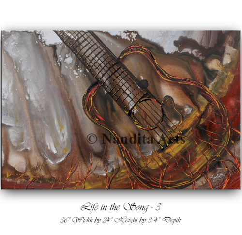Guitar art, guitar painting, guitar wall art, guitar original painting by Nandita Albright