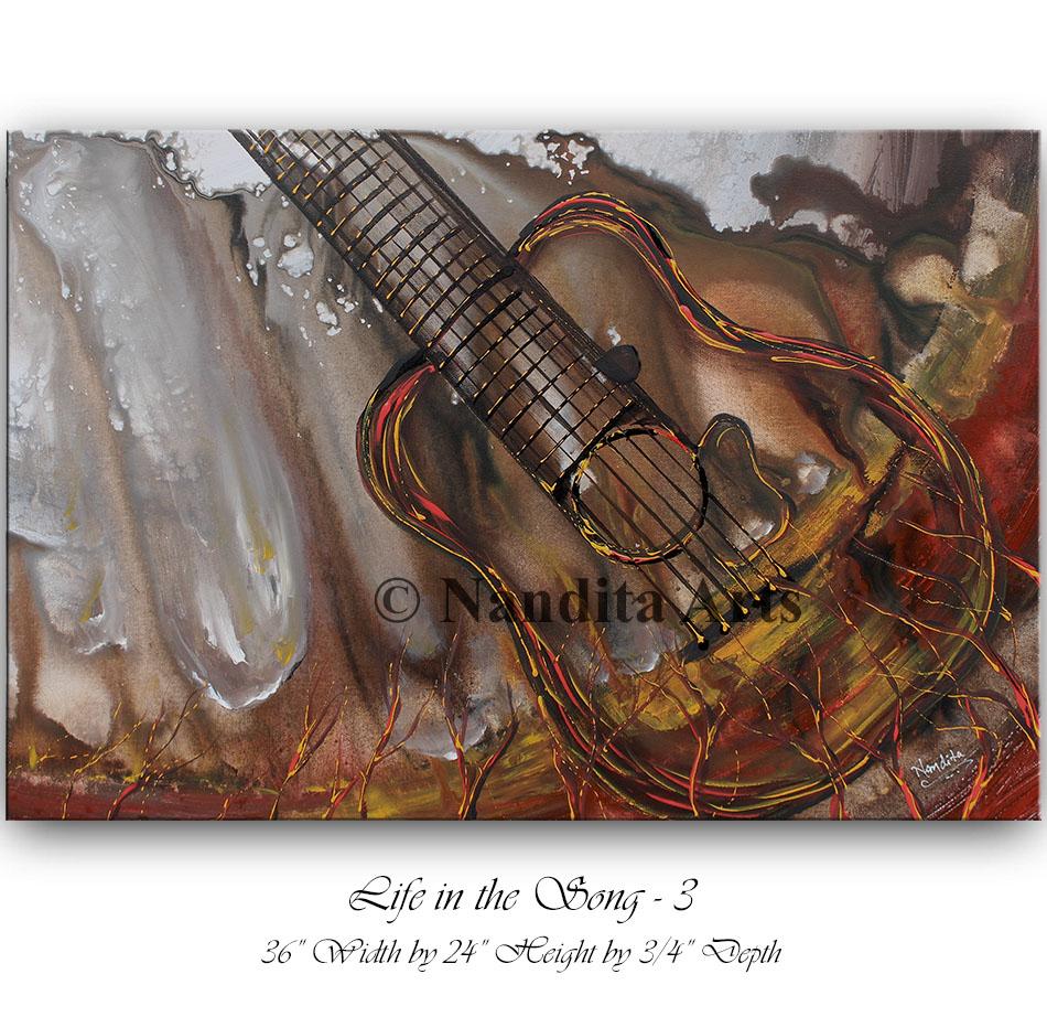Guitar art, guitar painting, guitar wall art, guitar original painting by Nandita Albright