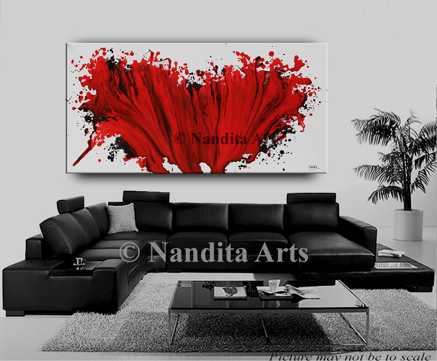 Red and Black Modern Art Painting
