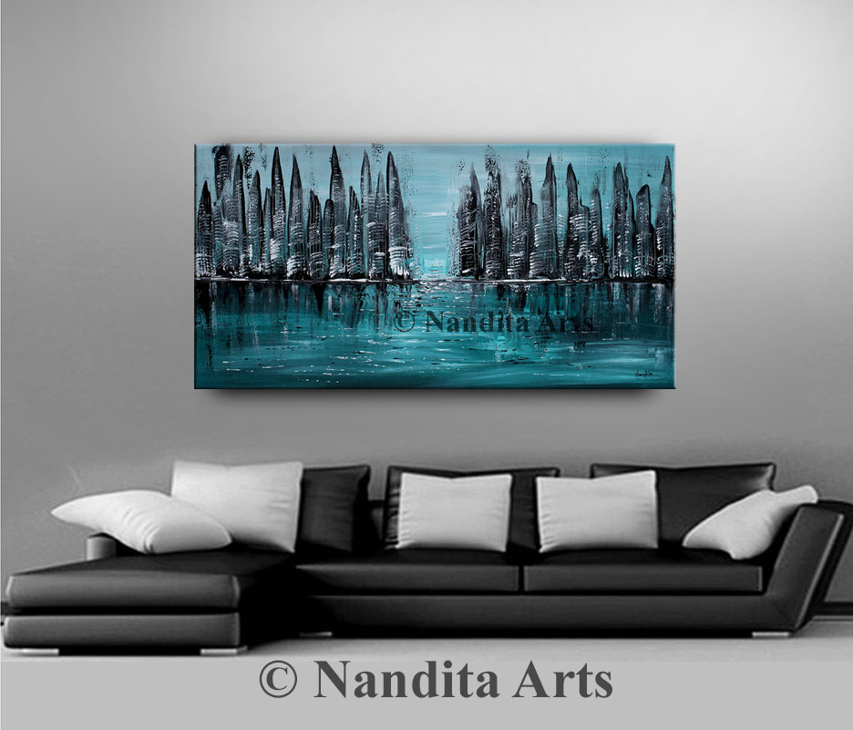 City Scape Art, Cityscape Painting, Turquoise