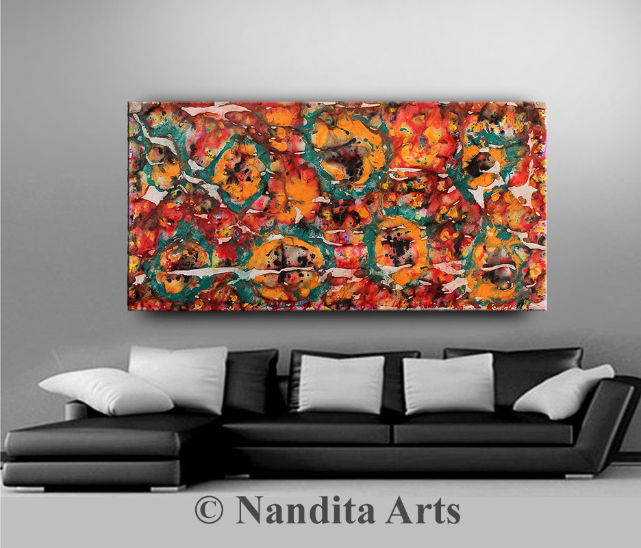 Red,Orange,Turquoise,Multicolored Painting