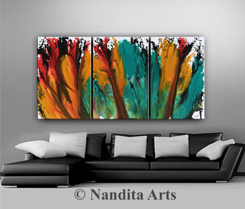 huge modern art, Turquoise Red and Orange art