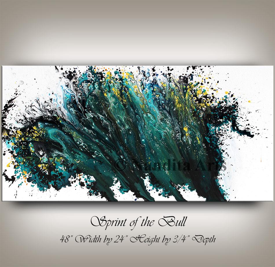 Bull, Animal bull Painting, Turquoise blue bull art