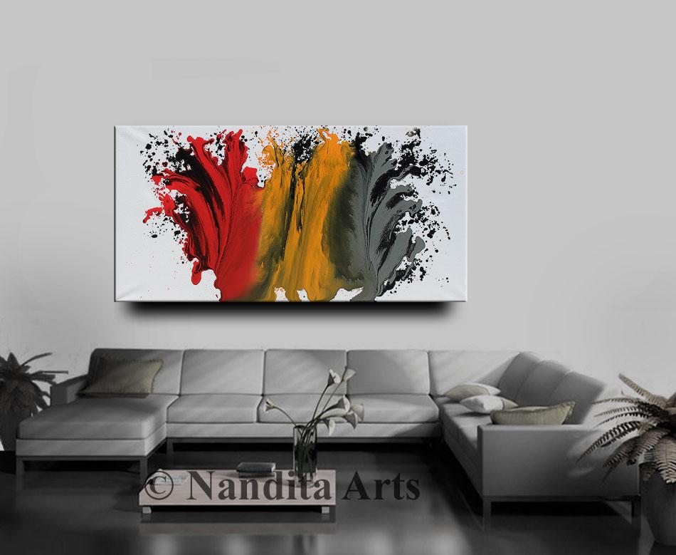 Art,Painting,Artwork,Large Art, Large Painting, Red White Orange and Gray