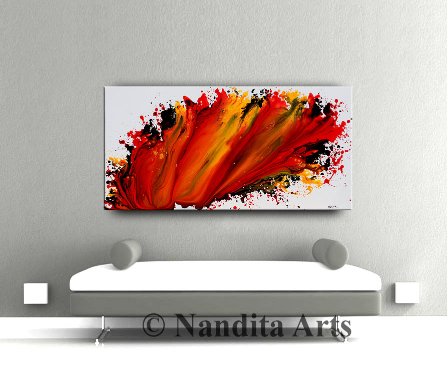 Abstract Painting, Red Large Original Art