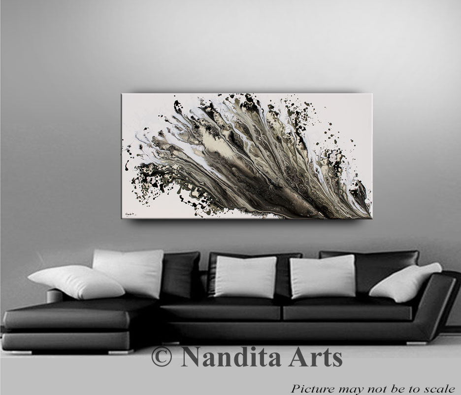 Abstract Silver Wall Art, White and Gray Artwork