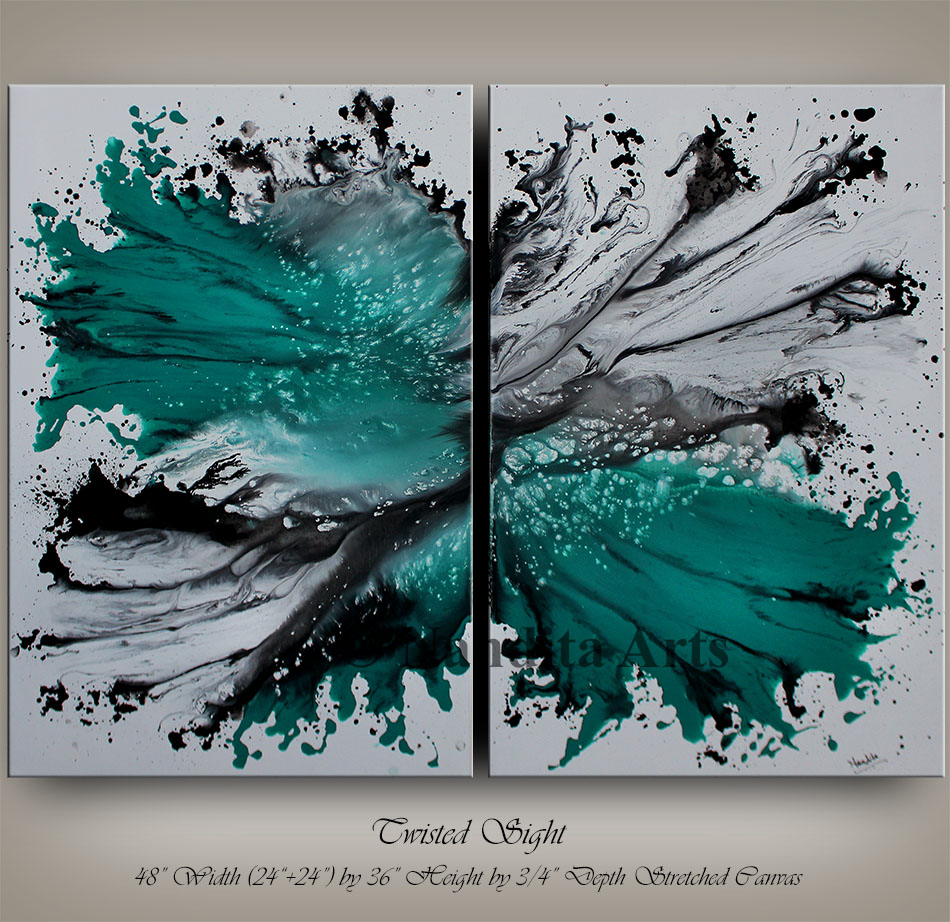 Abstract Art, Turquoise Large Painting Gallery