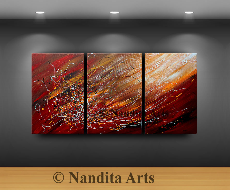 Abstract Painting, Abstract red painting, Large wall art by Nandita Albright