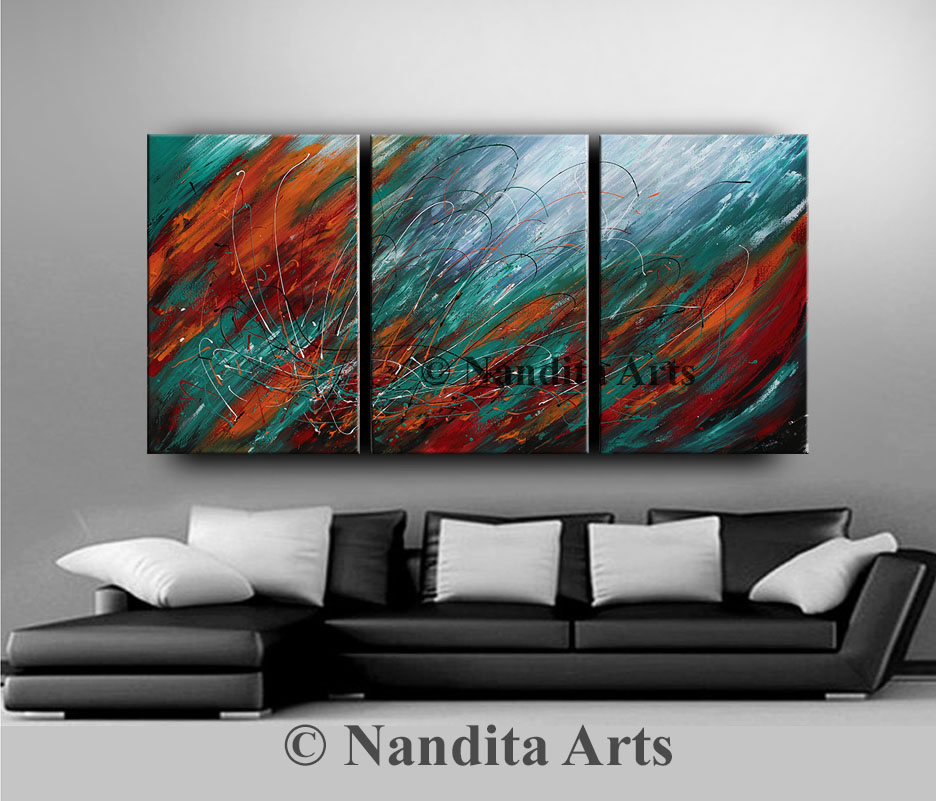 Abstract Art, Large Abstract Painting for sale by Nandita Albright