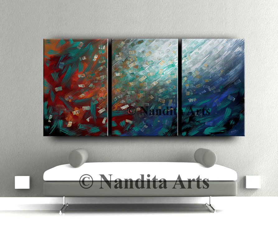 Painting on canvas, abstract painting, abstract red painting by Nandita Albright