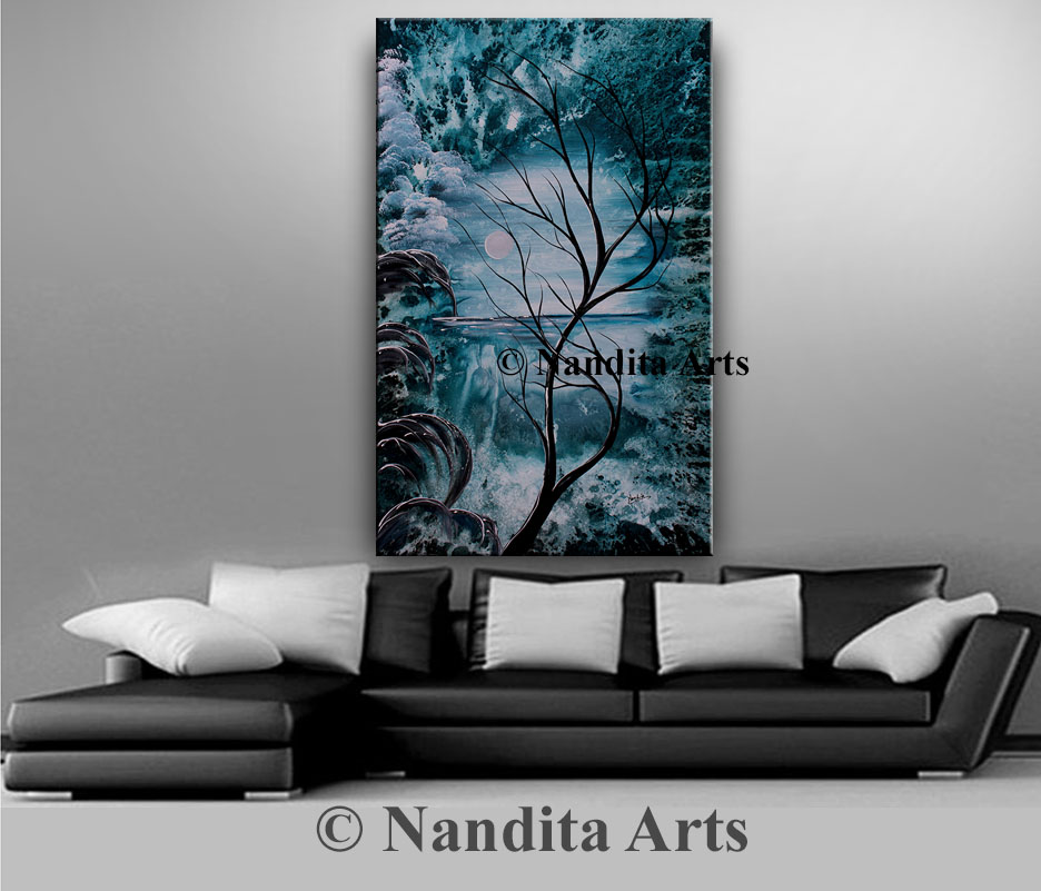 Huge Landscape Painting, Turquoise Art by Nandita Albright