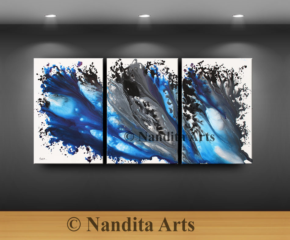 Large Artwork, Painting, Blue and Gray Art by Nandita Albright