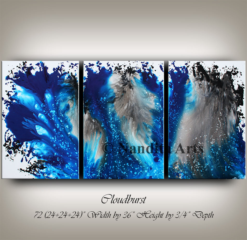 Blue Wall Art Decor, Modern Painting