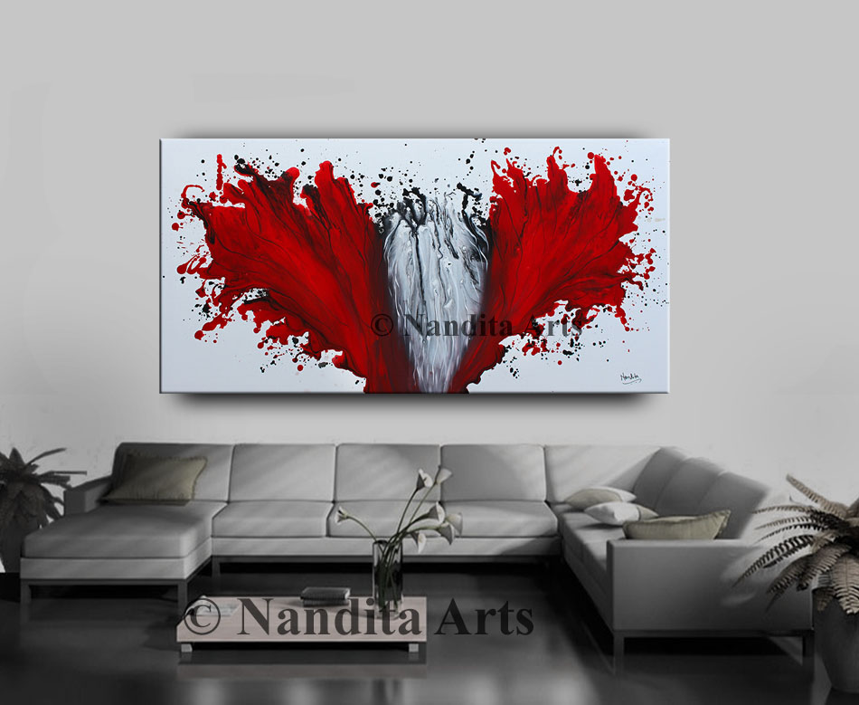 Large Paintings, Red Artwork, Red and Whit Painting by Nandita Albright
