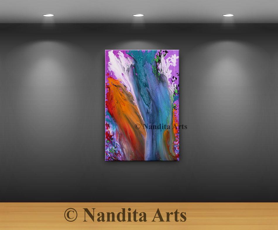 Rainbow Torn, Modern Art, Modern Painting by Nandita Albright