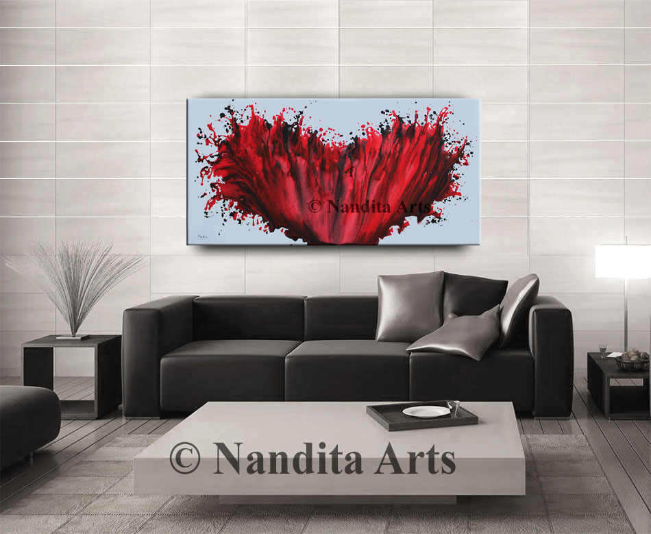 Red, Red Heart, Red Artwork, Red Painting by Nandita Albright