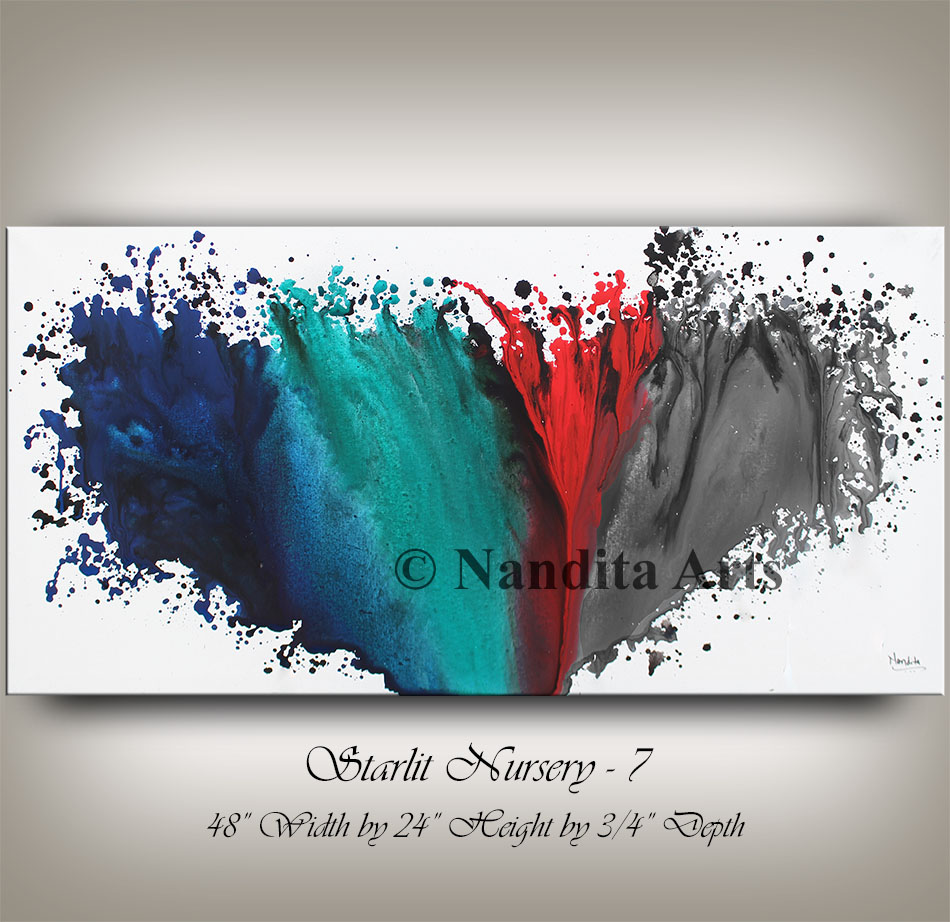 Blue, Teal Red and Gray Painting by Nandita Albright