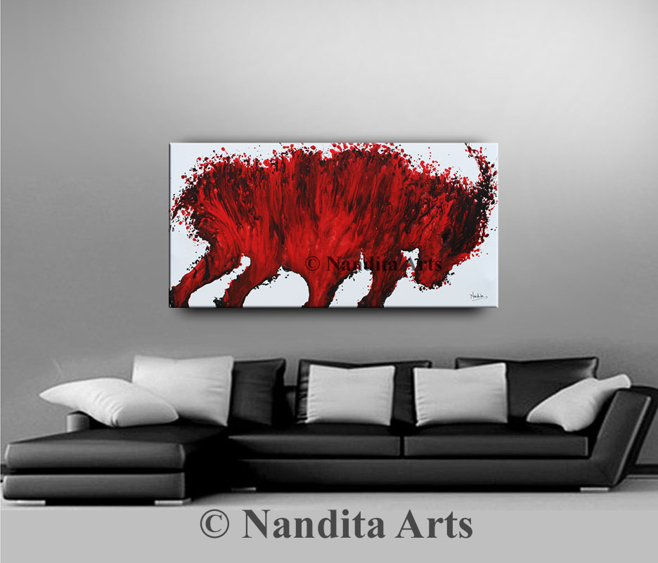 Bull, Red Bull, Bull Modern Art by Nandita Albright