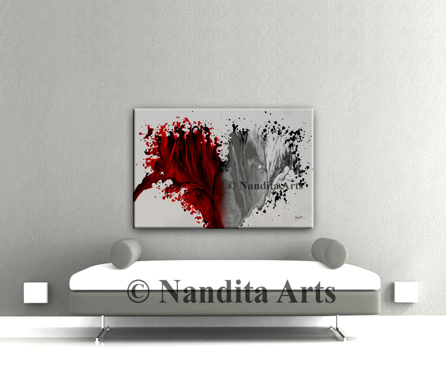 Red Art, Red Hearts painting