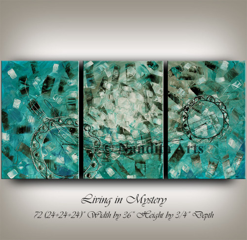 turquoise wall art , abstract large art