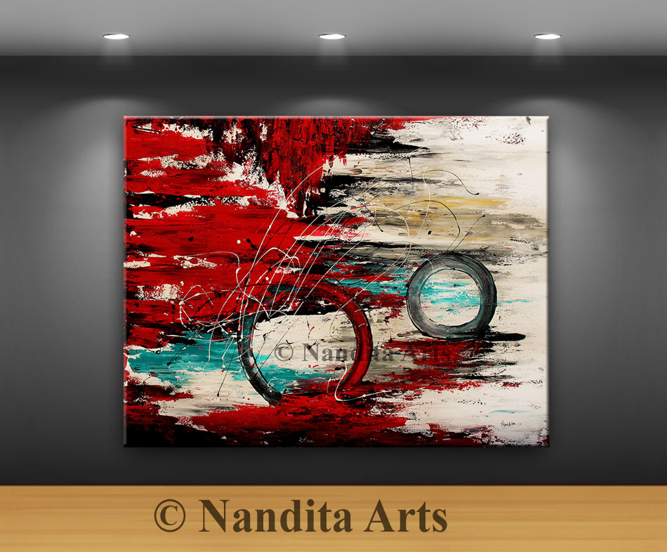 Red Modern Art Painting