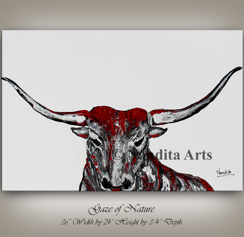bull, bull horn, bull artwork, bull painting, red bull art