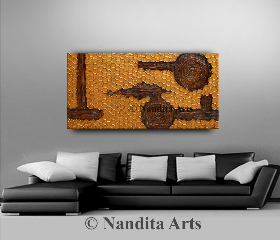 Gold and Brown art, large textured Painting