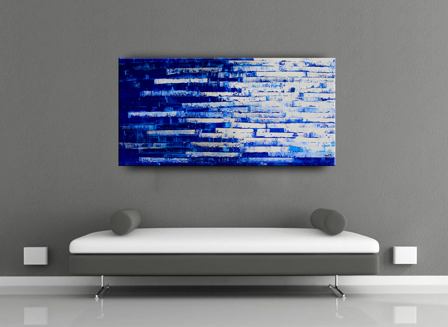 blue textured artwork, Large painting