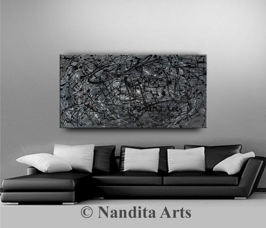 Black Modern Painting, Modern Wall ARt