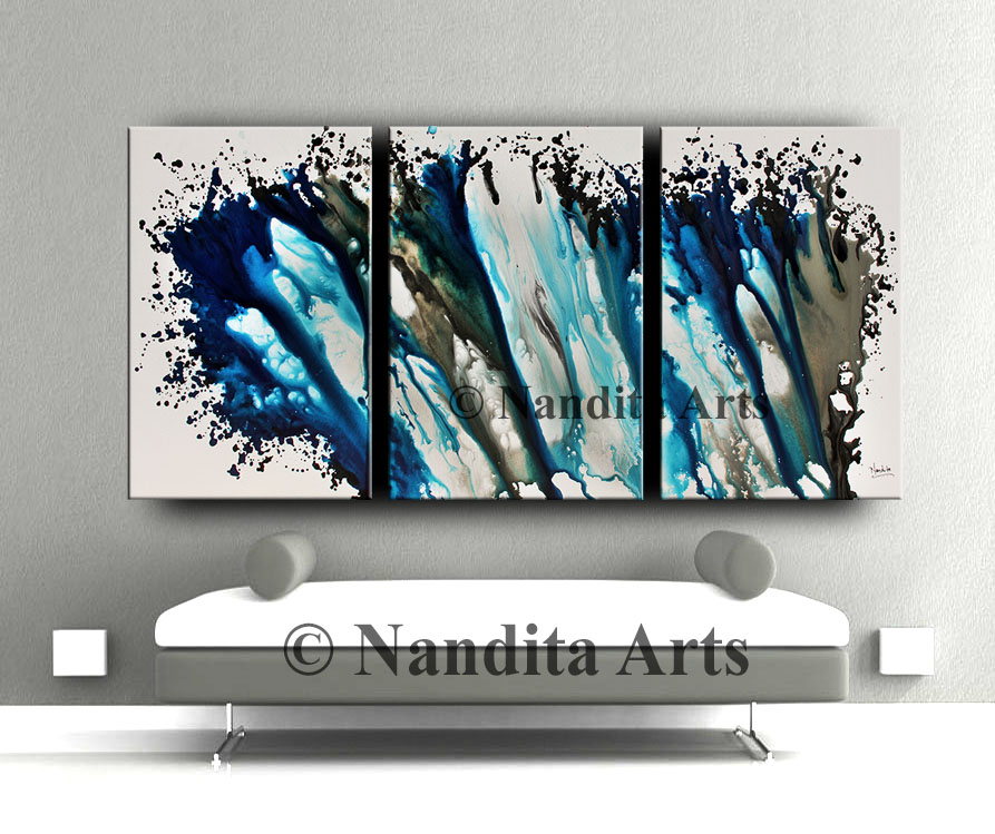 Turquoise Wall Art Decor, Large Painting
