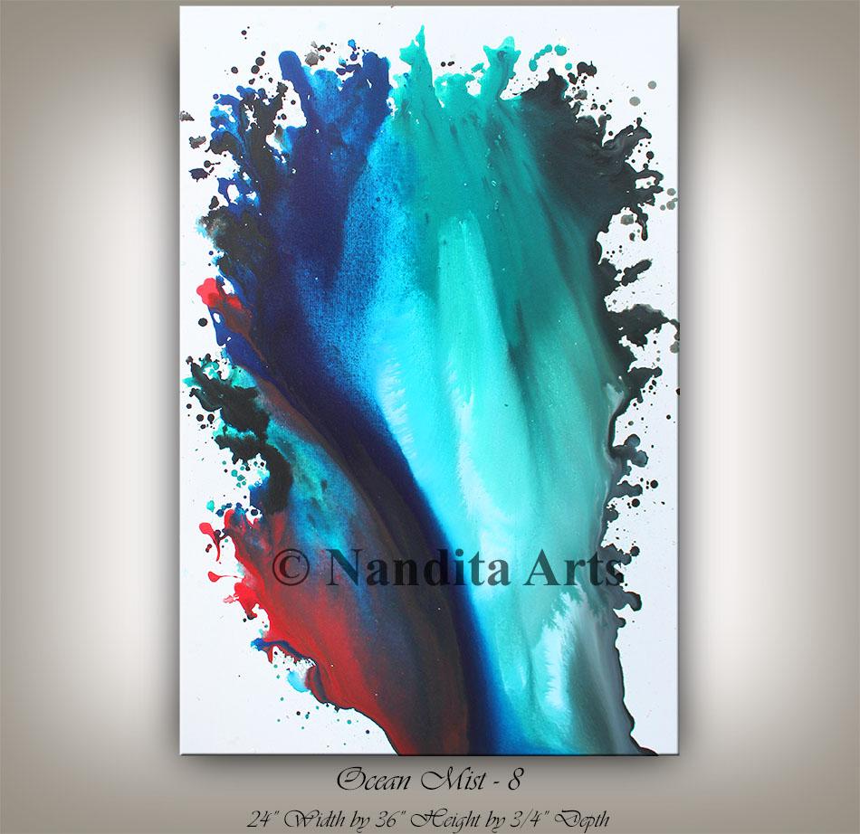 Turquoise wall art, Red Art, Blue Art Dcore