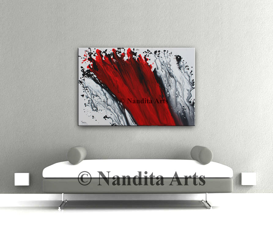 Red Art, Red Wall ART Painting
