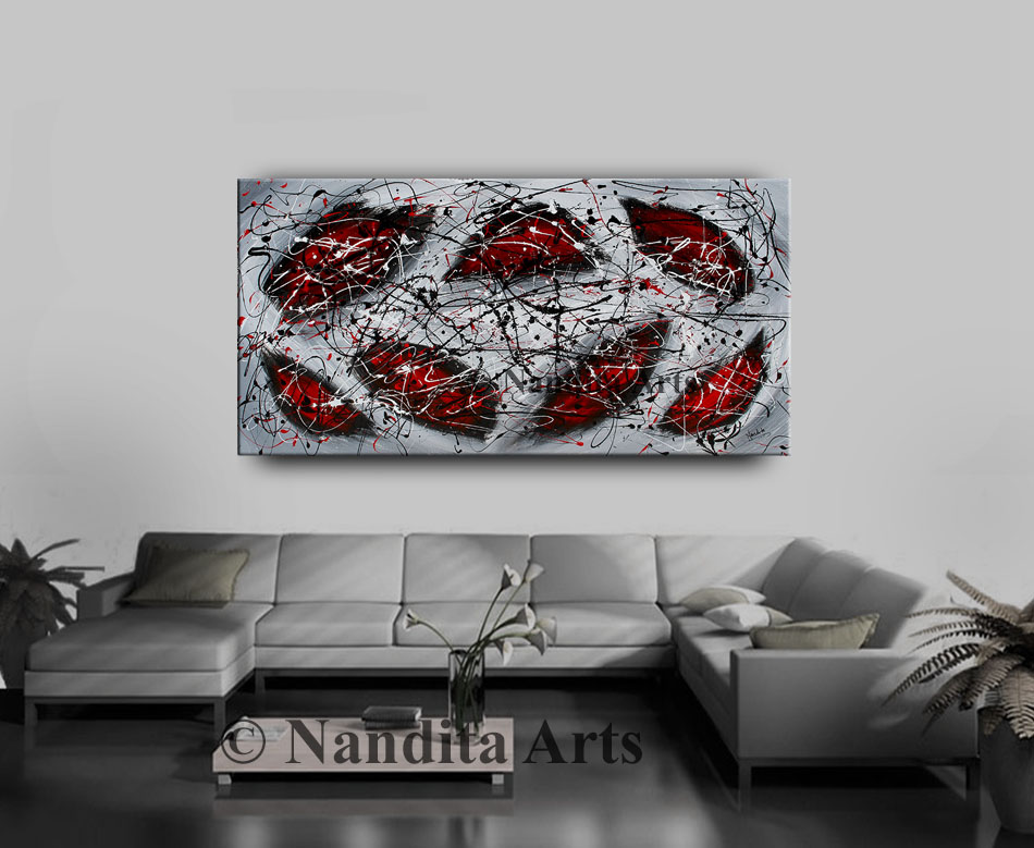 Red Large Modern Art, Home Decor