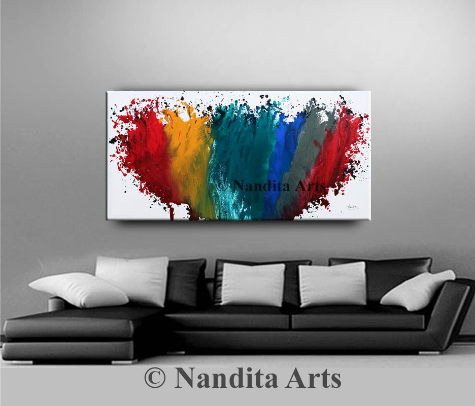 Red, Blue, Turquoise, Grey and Orange Modern Home Decor