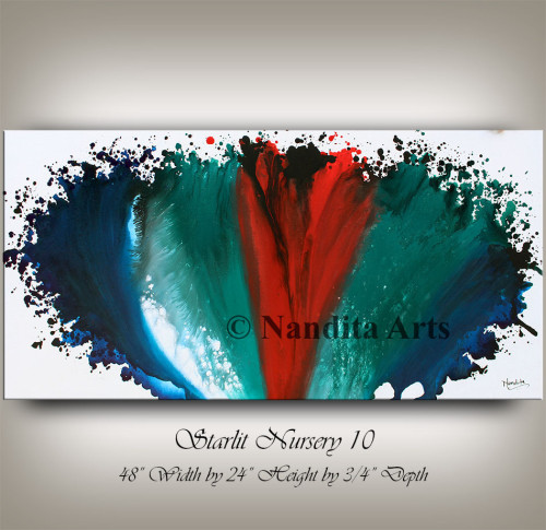 Blue Abstract Painting, Red and Turquoise Home Decor