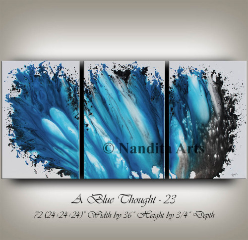 Blue, blue modern art large painting