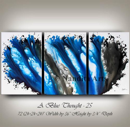 Blue Modern Painting by Nandita Albright
