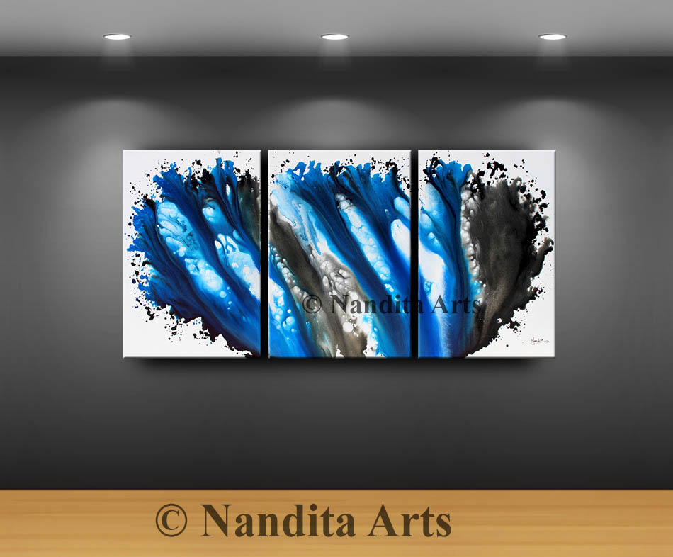 Blue Modern Painting by Nandita Albright