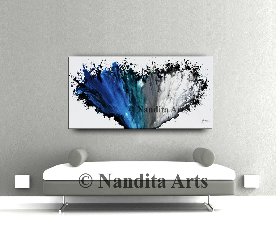 Blue Art, Blue Artwork by Nandita Albright