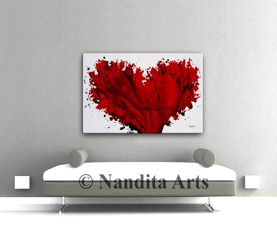 Red, Red Heart Art, Red Painting by Nandita Albright