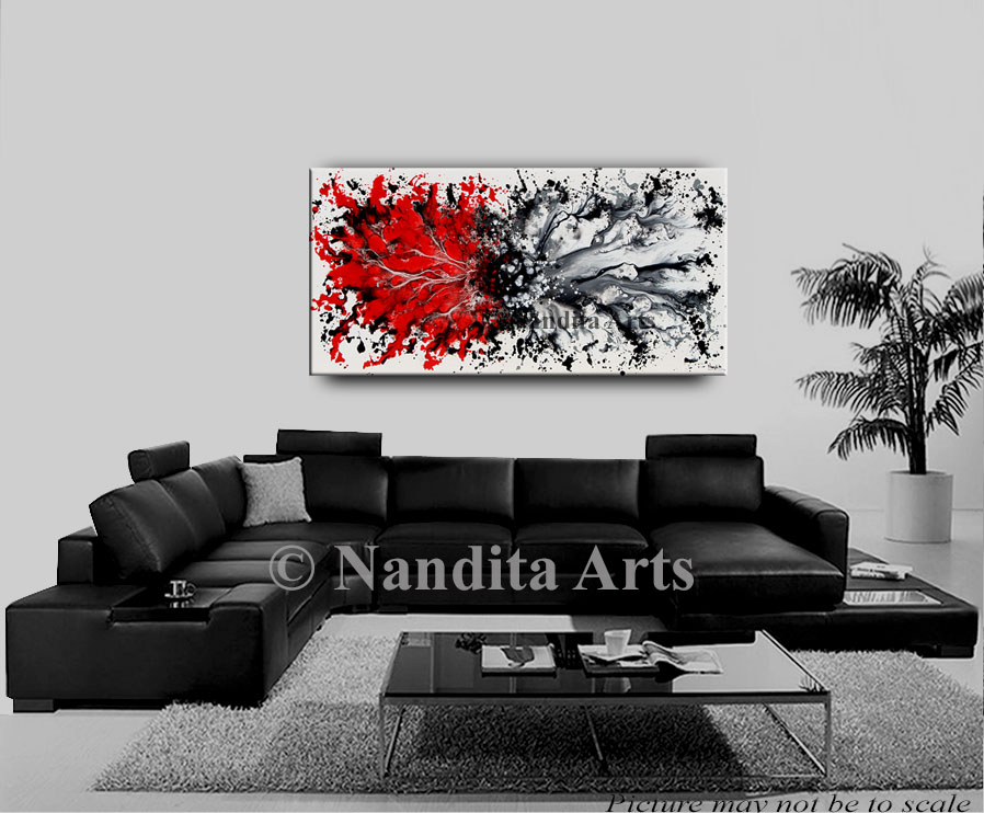 Red Modern Art Original Painting by Nandita Albright
