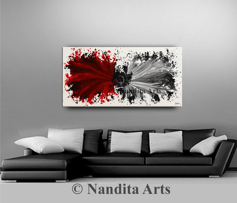 Red Art, Red Modern Painting by Nandita Albright